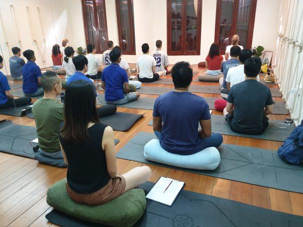 Group meditation class at Xuan Healing Cove